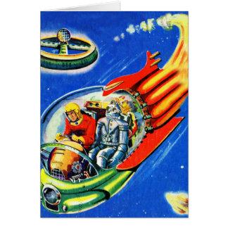 Rétro vaisseau spatial vintage de voyage dans carte de vœux