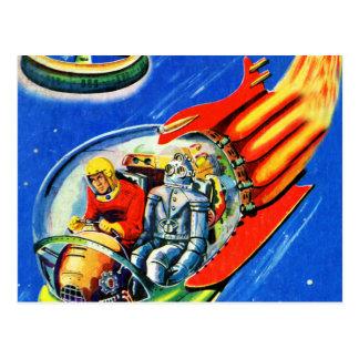 Rétro vaisseau spatial vintage de voyage dans carte postale