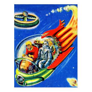 Rétro vaisseau spatial vintage de voyage dans cartes postales