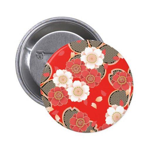 Rétro vecteur blanc rouge floral vintage mignon pin's avec agrafe