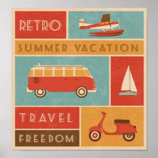 Rétro voyage de vacances d'été de KRW Posters