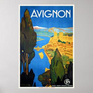 Rétro voyage vintage Avignon de Français d'art Poster