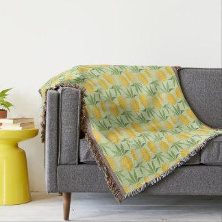 Rétros ananas couvre pied de lit