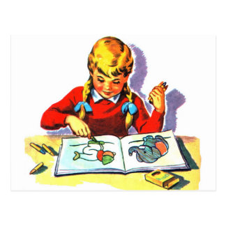 Rétros arts vintages et métiers de livre d'école carte postale