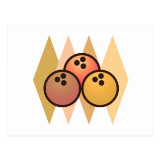Rétros boules de bowling carte postale