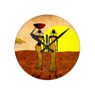 Rétros cadeaux vintages 24 de style de l'Afrique Horloge Ronde