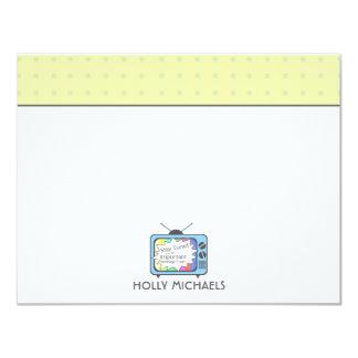 Rétros cartes pour notes plats de poste TV de bleu Carton D'invitation 10,79 Cm X 13,97 Cm