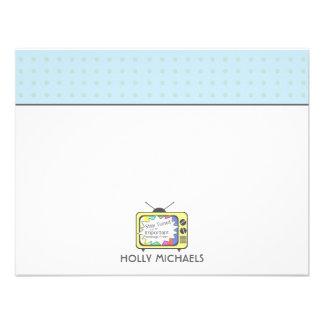 Rétros cartes pour notes plats de poste TV de jaun Invitation Personnalisable
