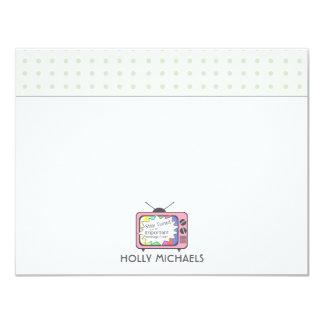 Rétros cartes pour notes plats de poste TV de rose Carton D'invitation 10,79 Cm X 13,97 Cm