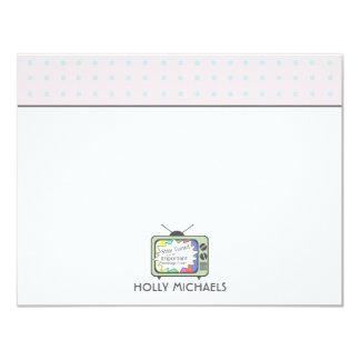 Rétros cartes pour notes plats de poste TV de vert Carton D'invitation 10,79 Cm X 13,97 Cm
