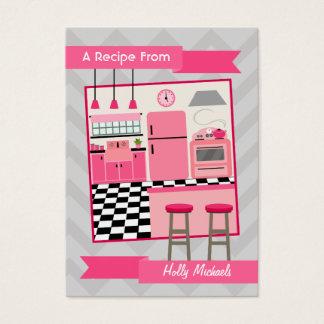 Rétros cartes roses de recette de cuisine