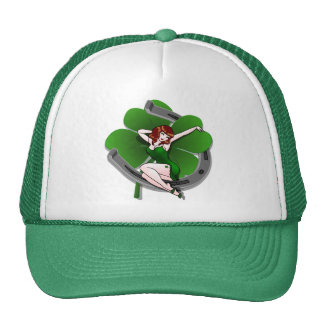 Rétros casquettes chanceux de pin-up irlandais de