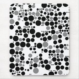 Rétros cercles de gamme de gris noire et blanche tapis de souris