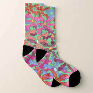 Rétros chaussettes colorées d'impression florale