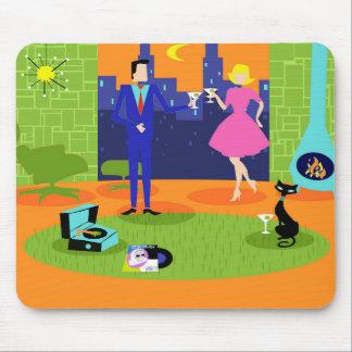 Rétros couples romantiques Mousepad de soirée Tapis De Souris