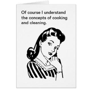 Rétros cuisine et nettoyage drôles de carte du