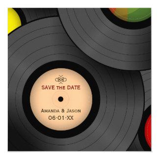 Rétros économies de disques vinyle l'invitation de carton d'invitation  13,33 cm