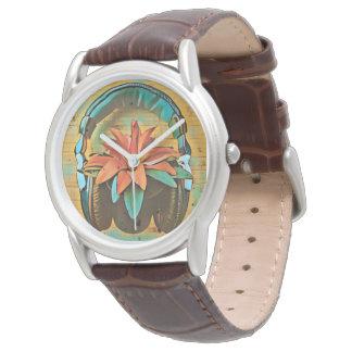 Rétros écouteurs de style sur une fleur montres bracelet
