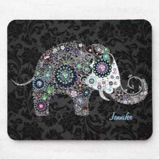 Rétros éléphant et diamants floraux colorés 2 tapis de souris