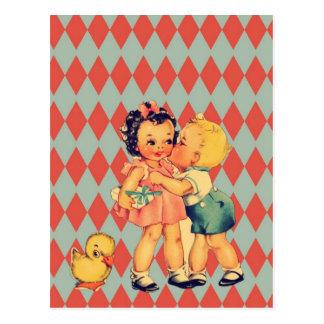 Rétros enfants de cru de kitsch de Valentine Carte Postale