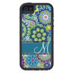 Rétros fleurs colorées avec le monogramme coques iPhone 5