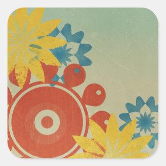 Rétros fleurs hippies autocollants carrés
