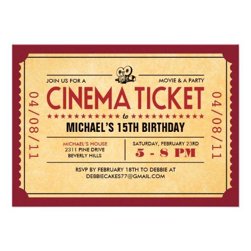 Rétros invitations de billet de film
