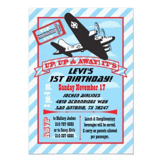 Rétros invitations de fête d'anniversaire d'avion