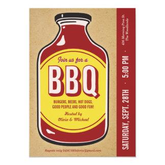 Rétros invitations de partie de sauce à BBQ