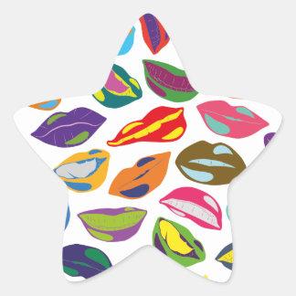 Rétros lèvres colorées psychopathes de motif sticker étoile