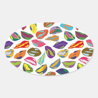 Rétros lèvres colorées psychopathes de motif sticker ovale