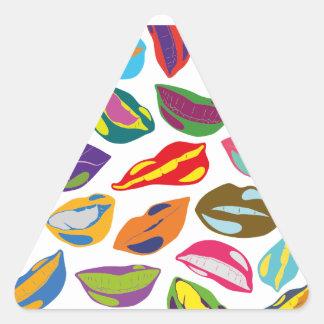 Rétros lèvres colorées psychopathes de motif sticker triangulaire