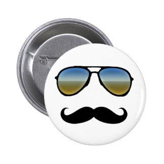 Rétros lunettes de soleil drôles avec la moustache badge avec épingle