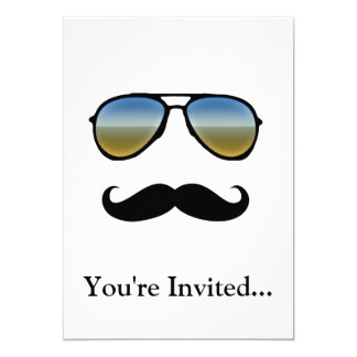 Rétros lunettes de soleil drôles avec la moustache carton d'invitation  12,7 cm x 17,78 cm