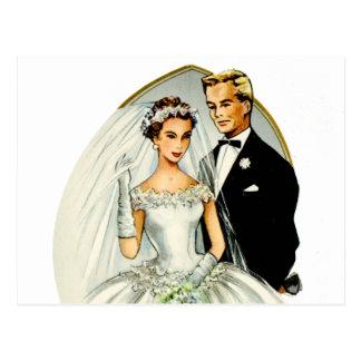 Rétros ménages mariés vintages de les années 50 de carte postale