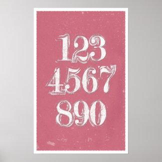 Rétros nombres - affiches de maths poster