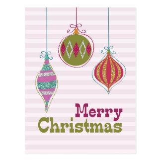 Rétros ornements de scintillement de Joyeux Noël Cartes Postales