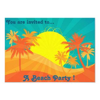 Rétros palmiers de plage de coucher du soleil de carton d'invitation  12,7 cm x 17,78 cm
