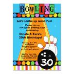 Rétros points et invitation de partie de bowling carton d'invitation  12,7 cm x 17,78 cm