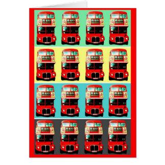 Rétros rangées de l'autobus 4 de Londres Carte De Vœux