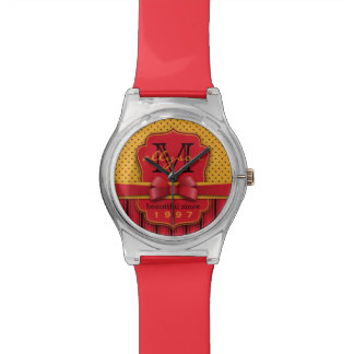 Rétros rayures jaunes de rouge de point de polka montres bracelet