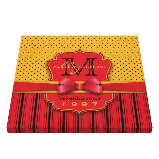 Rétros rayures jaunes de rouge de point de polka toiles