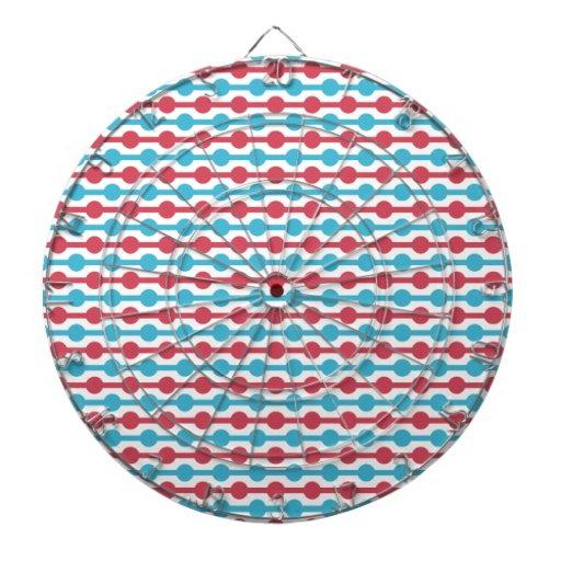 Rétros rayures rouges, blanches, et bleues et poin jeux de fléchettes