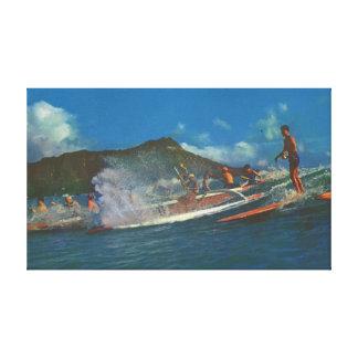 Rétros surfers hawaïens impression sur toile