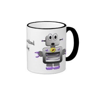Rétros tasse personnalisée par robots mignons
