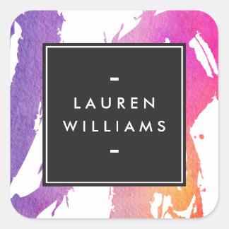 Rétros traçages lumineux abstraits d'aquarelle sticker carré