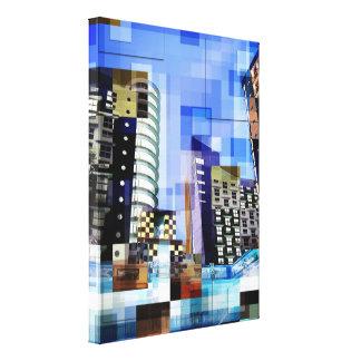Rétros tuiles de tour de ville impression sur toile