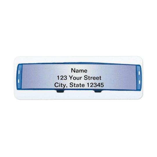 Rétroviseur bleu sur le gradient bleu étiquette d'adresse retour