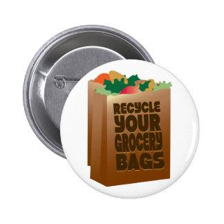 Réutilisez les sacs d'épicerie badge rond 5 cm