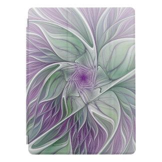 Rêve de fleur, art vert pourpre abstrait de protection iPad pro